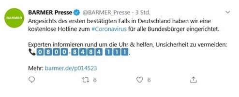 © Twitter / @BARMER_Presse